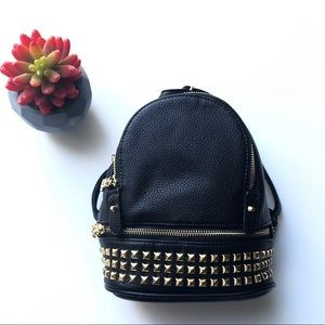 Handbags - Black Vegan leather Mini backpack  gold studs